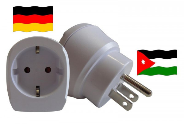 Reiseadapter für Jordanien. Steckeradapter für Geräte aus Deutschland