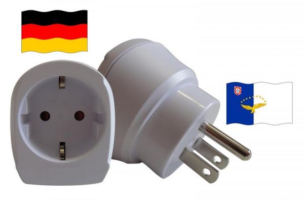Reiseadapter für Azoren. Steckeradapter für Geräte aus Deutschland