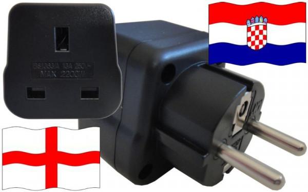 Reiseadapter Kroatien für Geräte aus England