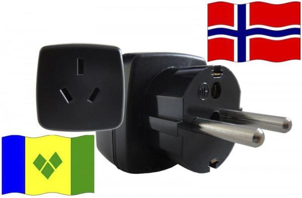 Reiseadapter Norwegen - für Geräten aus St. Vincent u. d. Grenadinen