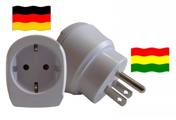 Reiseadapter für Bolivien. Steckeradapter für Geräte aus Deutschland