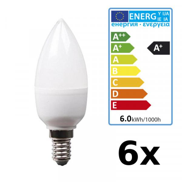 6Stück XQ-lite LED Kerze XQ13188/2 Kerzenform E14 Fassung, 2700K, warmweiß matt