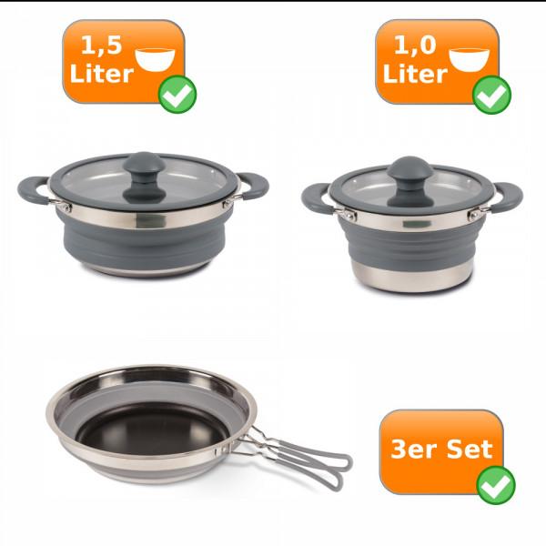 Faltbares Küchenset - 3er Reise Set- 1,0 Liter Topf + 1,5 Liter Topf + Pfanne grau