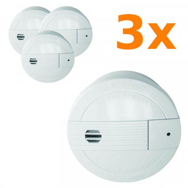 3 Rauchmelder mit Funksendern für 24 Stunden Schutz Smartwares SA68B