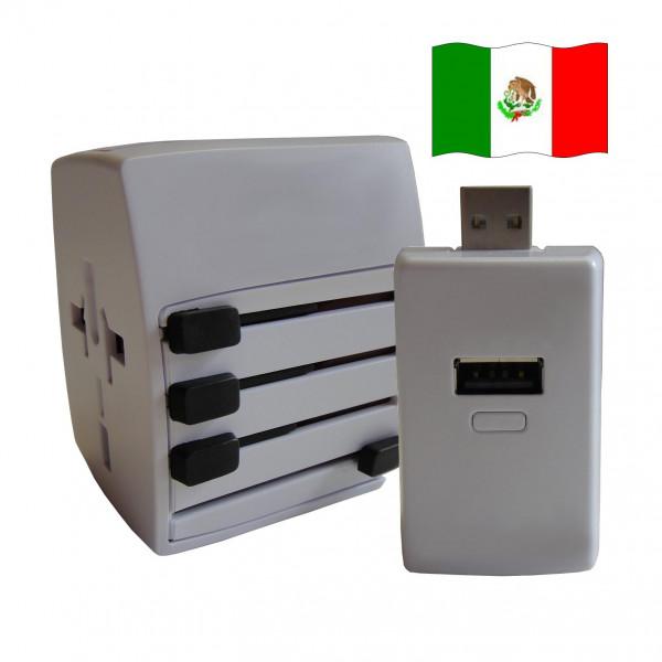 Welt Reisestecker Mexiko mit 2 USB Ports + extra Powerbank