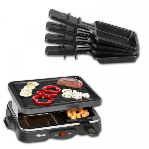 Raclette mit Grillpaltte 22 x 17cm Tristar RA-2949 2-4 Personen
