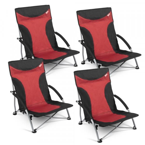 4er Set Strandstuhl mit breiten Standfüßen, Kampa Sandy FT0048 rot-schwarz
