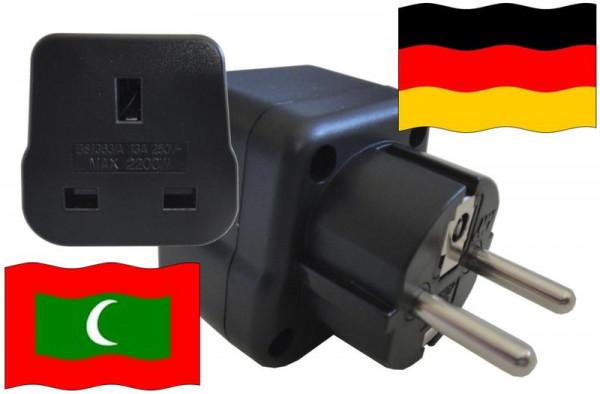 Urlaubsstecker Deutschland für Geräte aus Malediven