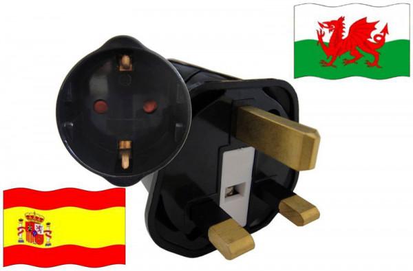 Urlaubsstecker Wales für Geräte aus Spanien