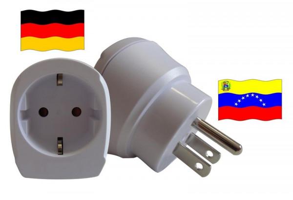 Reiseadapter für Venezuela. Steckeradapter für Geräte aus Deutschland