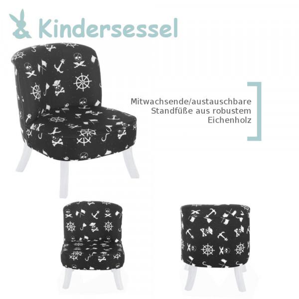 Design Kinder-Sessel Piraten-Muster mitwachsend + Weiße Füße Somebunny FP10
