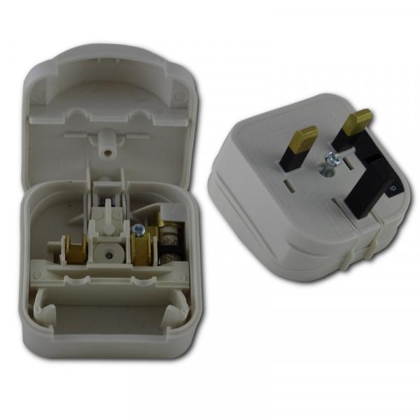 Fester 2-Poliger Steckdosenadapter England für Geräte aus Deutschland weiß