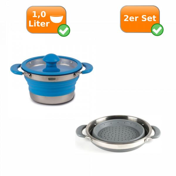 Faltbares Küchenset - 2er Reise Set - Camping 1,0Liter Topf blau + Sieb grau