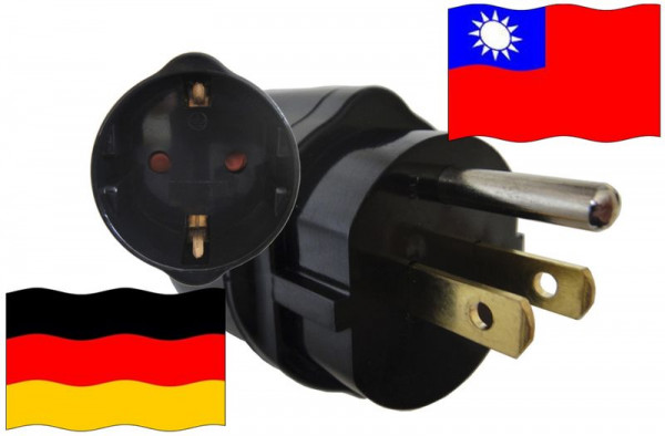 Urlaubsadapter Taiwan für Geräte aus Deutschland