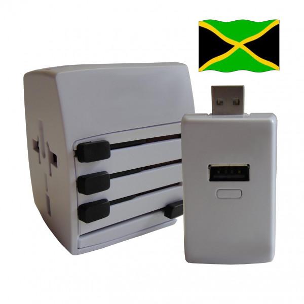 Welt Reisestecker Jamaika mit 2 USB Ports + extra Powerbank