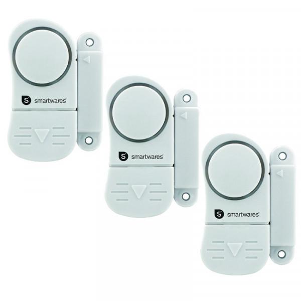 Mini Alarmanlage im 3er Set Smartwares SC07/3SW 10.017.13 sichert Fenster und Türen Smartwares