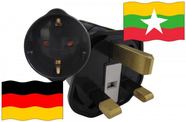 Urlaubsstecker Myanmar für Geräte aus Deutschland