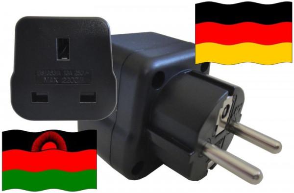 Urlaubsstecker Deutschland für Geräte aus Malawi