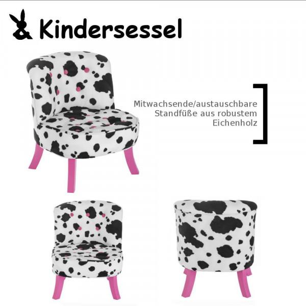 Design Kinder-Sessel Kuh-Muster mitwachsend + Pinke Füße Somebunny FRKLILA15