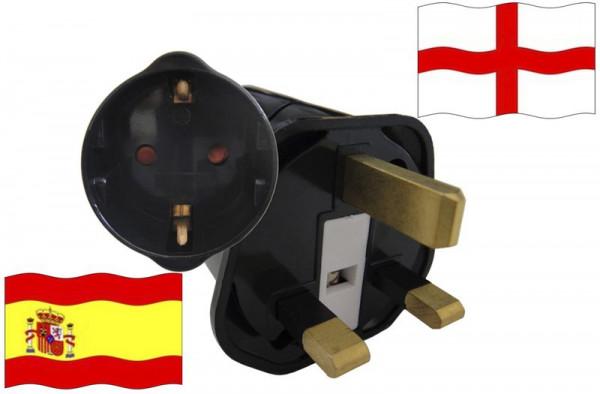 Urlaubsstecker England für Geräte aus Spanien