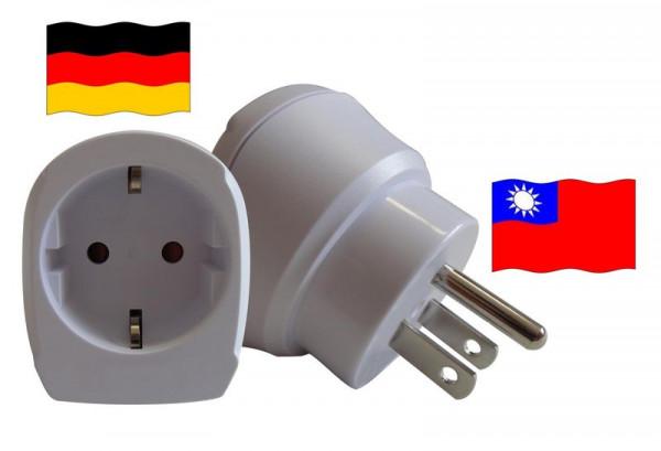 Reiseadapter für Taiwan. Steckeradapter für Geräte aus Deutschland
