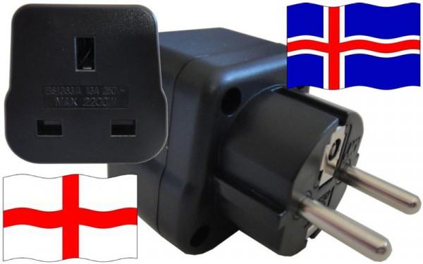 Reiseadapter Island für Geräte aus England