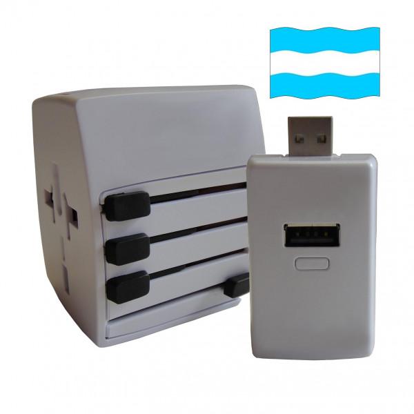 Welt Reisestecker Argentinien mit 2 USB Ports + extra Powerbank