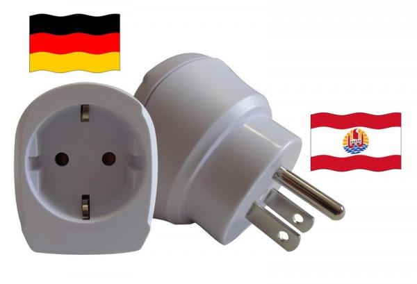 Reiseadapter für Französisch-Polynesien. Steckeradapter für Geräte aus Deutschland
