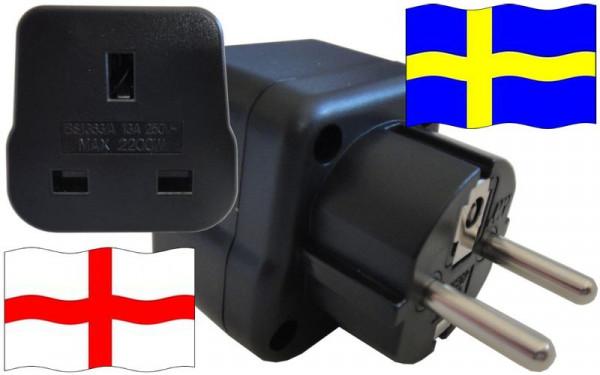 Reiseadapter Schweden für Geräte aus England