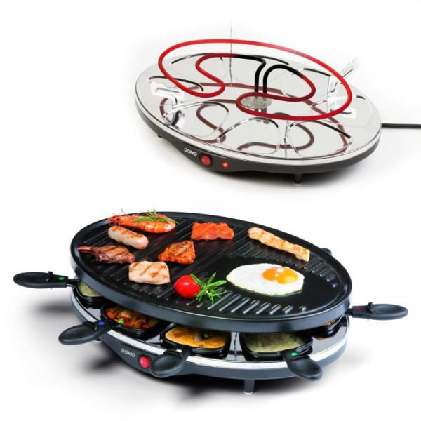 Raclette Grill DOMO DO9038G große Backplatte Raclette-Set