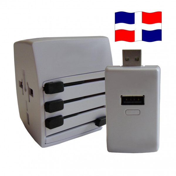 Welt Reisestecker DomRep. mit 2 USB Ports + extra Powerbank