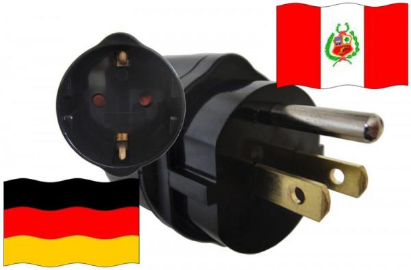 Urlaubsadapter Peru für Geräte aus Deutschland