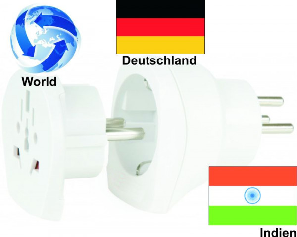 Reiseadapter Welt auf Indien + Deutschland - Kombi Adapter 1.500215
