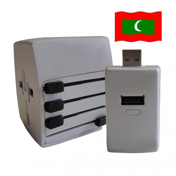 Welt Reisestecker Malediven mit 2 USB Ports + extra Powerbank