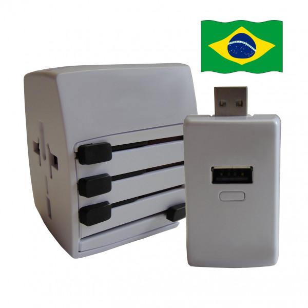 Welt Reisestecker Brasilien mit 2 USB Ports + extra Powerbank