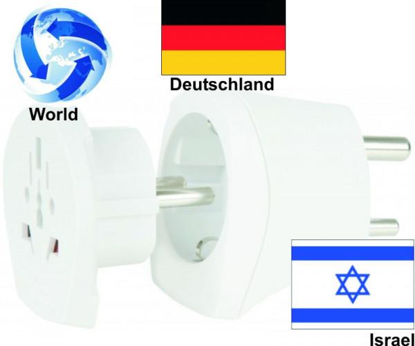 Reiseadapter Welt auf Israel+ Deutschland Kombi Adapter 1.500216