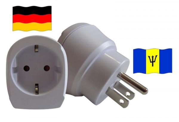 Reiseadapter für Barbados. Steckeradapter für Geräte aus Deutschland