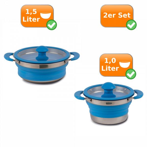 Faltbares Kochtopfset - 2er Reise Set - Camping 1Liter Topf + 1,5Liter Topf blau
