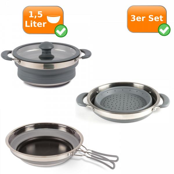 Faltbares Küchenset - 3er Set - Camping 1,5Liter Kochtopf + Sieb + Pfanne grau