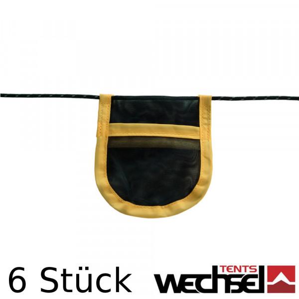 6 Mesh Taschen für Abspannleinen an Zelten, Wings und Tarps WECHSEL 231233