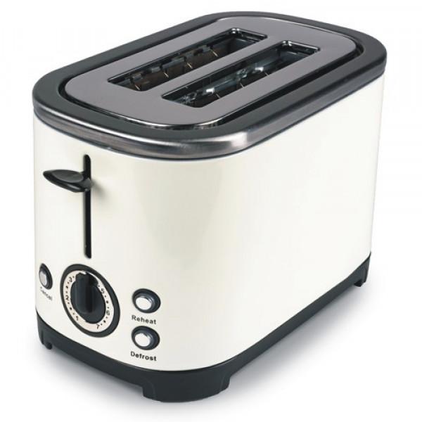 Stilvoller 2 Schlitz Edelstahl Toaster Kampa Deco ME0582E weiß