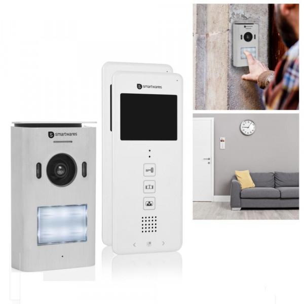 Video-Türsprech-Anlage mit zwei 3,5 Zoll Farbdisplays Smartwares DIC-22122