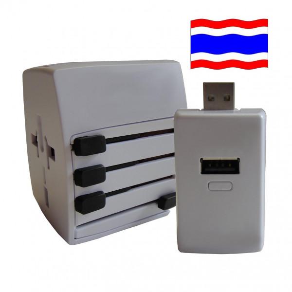Welt Reisestecker Thailand mit 2 USB Ports + extra Powerbank