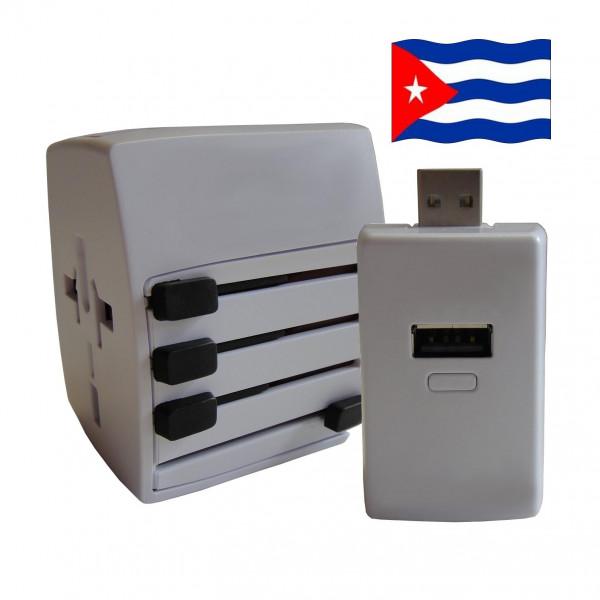 Welt Reisestecker Kuba mit 2 USB Ports + extra Powerbank