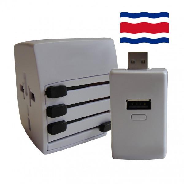 Welt Reisestecker Costa Rica mit 2 USB Ports + extra Powerbank