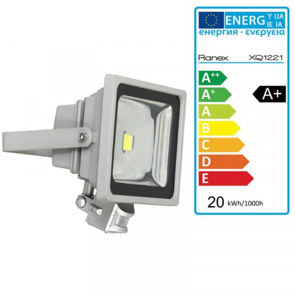 LED Fluter mit Bewegungsmelder mit Sicherheitsglas 6400K XQ1221 silber