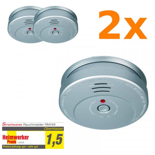 2er Set Rauchmelder Smartwares RM149A-5Y Feuermelder Aluminium Optik