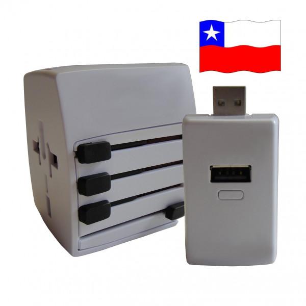 Welt Reisestecker Chile mit 2 USB Ports + extra Powerbank