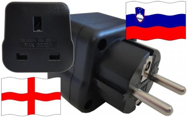 Reiseadapter Slowenien für Geräte aus England