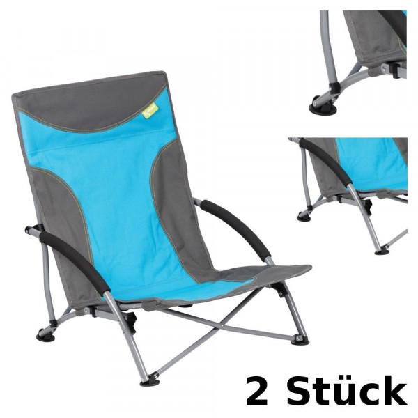 2er Set Strandstuhl mit breiten Standfüßen, Kampa Sandy FT0045 blau